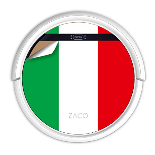 ZACO V5sPro Robot aspirateur avec fonction de nettoyage, 2 en 1 nettoyage jusqu'à 180 m², pour sols durs, protection contre les chutes, sans sac, avec station de charge, 300 ml, drapeau italien