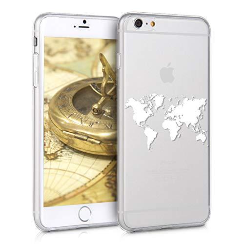 kwmobile Hülle kompatibel mit Apple iPhone 6 Plus / 6S Plus - Handyhülle - Handy Case Travel Umriss Weiß Transparent