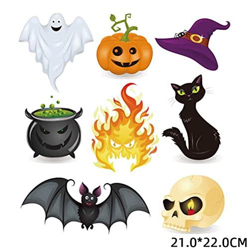 LISAQ Halloween Heat Transfer Vinyl, Iron-on Clothes Patches Halloween Party Bat Pumpkin Food Monster Heat Transfers Vinyl Patch Boy Girl DIY Clothing Sticker 6PCS