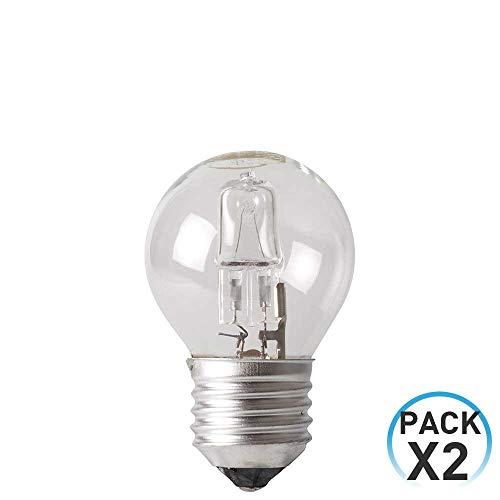 Pack 2 Bombillas Halógenas Esférica E27 42W 700lm Regulables 2900K 1Primer Low Cost