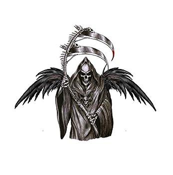 2 Sheets Skull Temporary Tattoos For Men Women Grim Reaper Fashion Body Art Chest Arm Azrael Sticker Sexy Fake Satan Tattoo Special Design Waterproof Black Tattoos