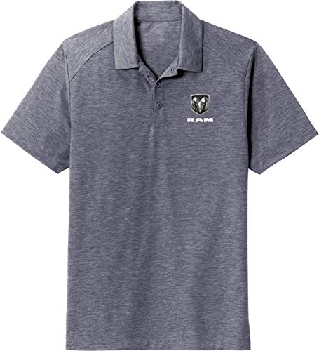 Dodge Ram Pocket Print Tri Blend Wicking Polo, Navy 4XL