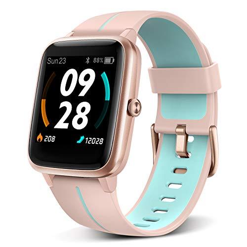 """BYTTRON Smartwatch Herren Damen, 1.3\"""" Touchscreen 5 ATM wasserdichte Fitness Tracker Built-in GPS Sport Uhr mit Herzfrequenz Schlafen Monitor Rufen Sie SMS Alert for Women Men Android iPhone (Pink)"""