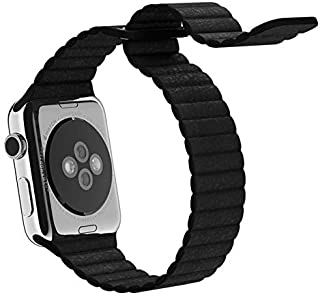 Magnetic Leather Wrist Loop Strap for Apple Watch 42mm - Black