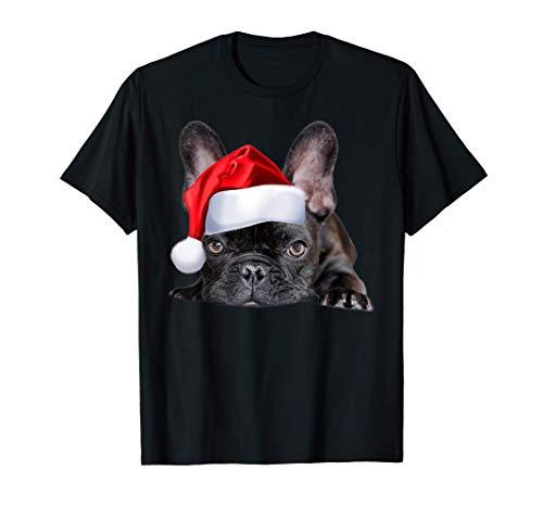 Cute French Bulldog Santa Hat Frenchie Image Christmas Gift T-Shirt