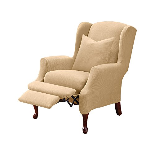 SureFit Home Décor SF38684 Stretch Pique Box Cushion Recliner Wingback Chair Slipcover, Form Fit, Polyester Spandex, Machine Washable, Two Piece, Cream Color