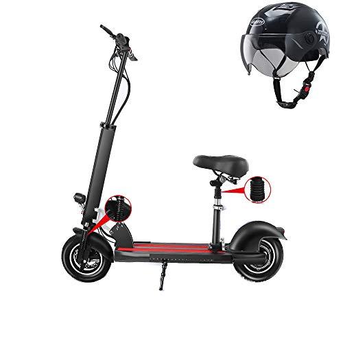 ZJING Patinete Eléctrico Scooter Adulto, Asiento Ajustable,Neumáticos de 10 Pulgadas, Velocidad Máx...