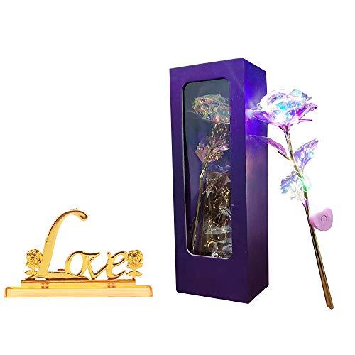 Viitech Rosas falsas, rosas eternas de oro de 24 quilates de plástico, coloridas flores doradas, decoración dorada, día de San Valentín, aniversario (soporte LED)
