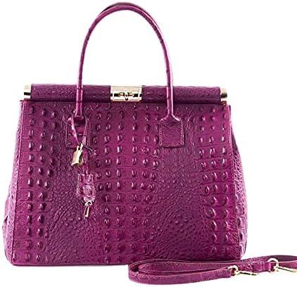 Italian Light Purple Crocodile Handbag & Shoulder Bag