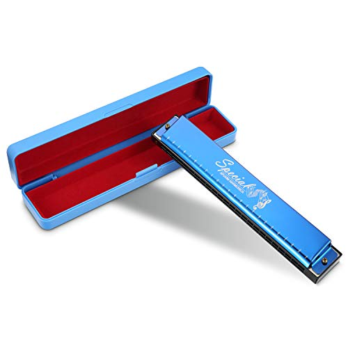 Armonica C Key 24 Fori Harmonica Tremolo per Professionista/Principiante Di Afuaim (Blu)