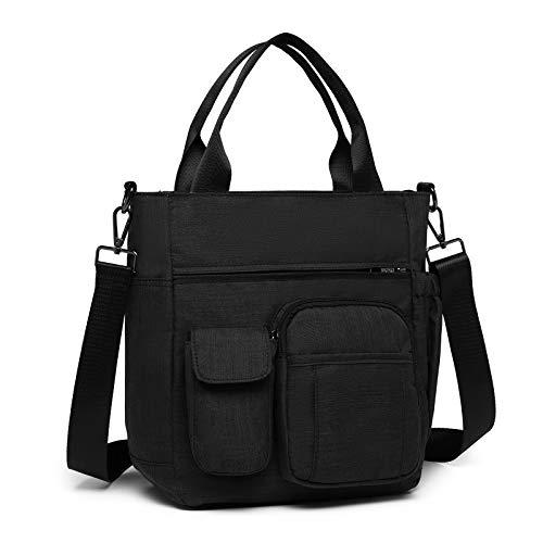 Kono Multi Pockets Handbag Crossbody Messenger Bag Black Casual Shoulder Bags Multi-functional Medium Tote for Laptop Men Women College School Work Business Sport Travel (Black)