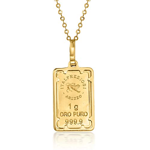 Ross-Simons Italian 24kt Yellow Gold 1-Gram Ingot Pendant Necklace With 14kt Yellow Gold Frame. 18 inches