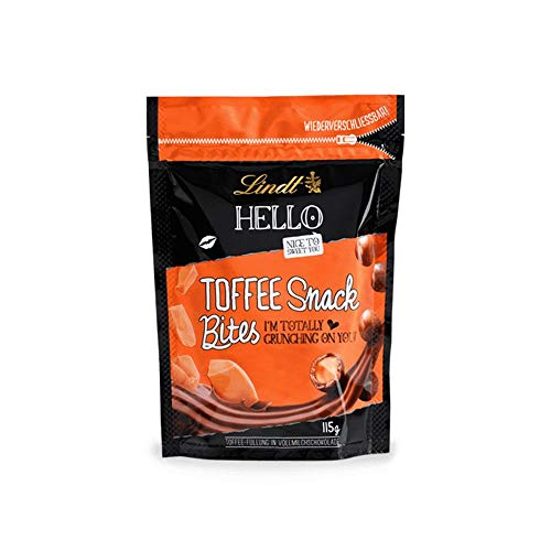 Lindt HELLO Toffee Snack Bites, Vollmilchschokolade mit Toffee-Füllung, 4er Pack (4 x 115 g)