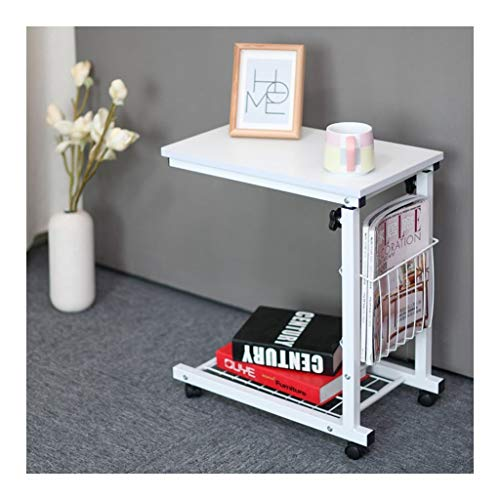 GYHUJI Lazy Bedside Table Lazy Bedside Laptop Table Desktop Overbed Table With Castors Multifunctional And Practical Suitable For All Kinds Of Laptops And Tablets (Color : Pure white)