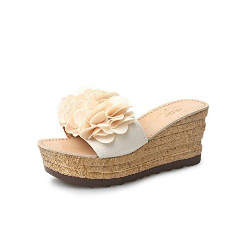FRAUIT pantoffels dames wedges bloemen slippers plateausandalen met hoge hak plateauzool waterdichte sandalen