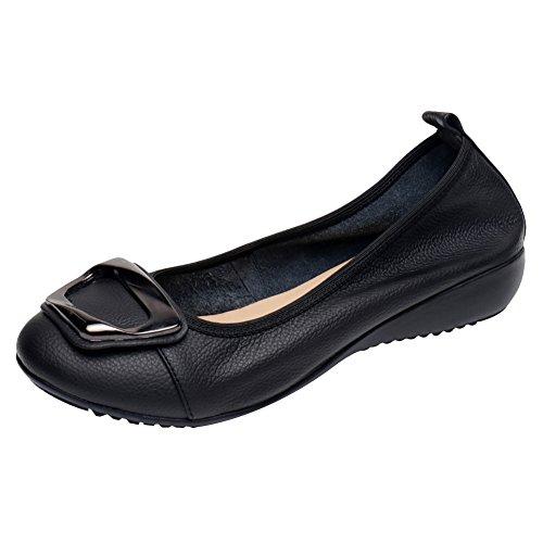 Jamron Donna Vera Pelle Comfort Scarpe Suola Morbida Ballerine Tacco Basso a Zeppa Pantofole Nero SN020624 EU39.5
