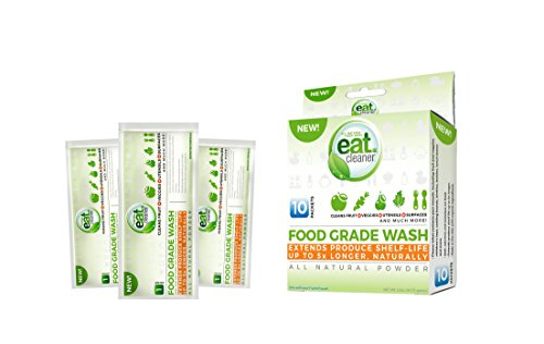 EATCLEANER 10CT Food Grade Wash Powder Packets Perfect for Bulk Fruit and Vegetable Washing