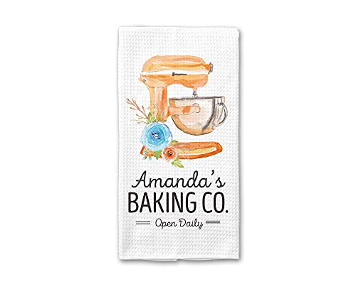 Personalized Baking Co. Kitchen Towel | Custom Waffle Weave Dish Towel | Personalized Kitchen Towel | Housewarming Gift | Wedding Gift | Housewarming Gift | Mixer Kitchen Towel | Baking Towel