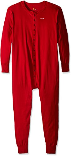 Carhartt Men's Big & Tall Midweight Cotton Union Suit, Red, 3X-Large