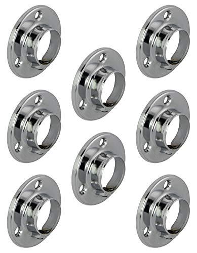 Gedotec Cintre de tringle d'armoire, supports de tube d'armoire en métal ronds pour tringles Ø 25 mm | Support de tube rond pour tube d'armoire et vestiaire | chrome poli | 8 pièces