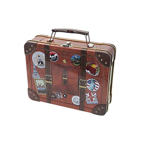 POWERHAUS24 Reisekoffer Blechdose, lebensmittelecht, Koffer mit Griff, Verschluss und bunten Reise-Stickern - 21 x 16 x 6cm inkl. PH24 Backrezept