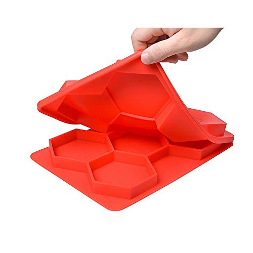 Silicone Burger Press,Grill Stuffed Presser,5-Patty,Single Cavity 3 3/4 x 3 1/4 Inch,BPA Free,Bakeware and Freezer Container for Patties,Hash Browns, Cutlets,Cookie Cutters - Red