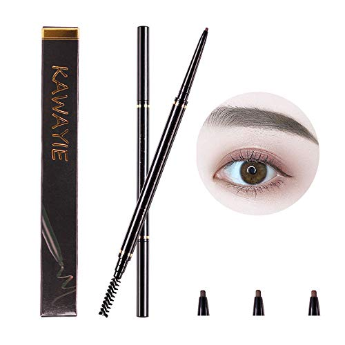 KAWAYIE Eyebrow Definer Pencil 2 Packs, Waterproof Brow Pencil Stylist Definer with Brush, Automatic Makeup Cosmetic (Dark brown)
