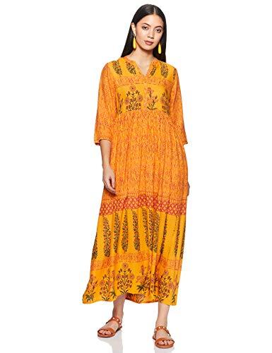 Indigo Rayon Bubble Hem Dress (AW20/IND-1460_Mustard_M)