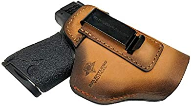 Relentless Tactical The Defender Leather IWB Holster - Made in USA - for S&W M&P Shield - Glock 17 19 22 23 32 33 44/ Springfield XD & XDS/Plus All Similar Sized Handguns – Charred Oak – Left Handed