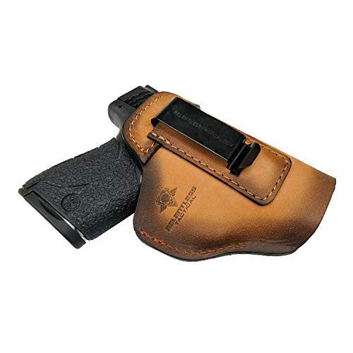 The Defender Leather IWB Holster - Made in USA - for S&W M&P Shield - Glock 17 19 22 23 32 33 44/ Springfield XD & XDS / Plus All Similar Sized Handguns – Charred Oak – Left Handed