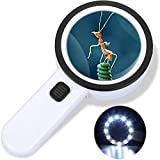 Magnifying Glass with Light, 30X Handheld Illuminated Lighted Magnifier with 12 LED for Macular Degeneration, Seniors Reading, Welding, Inspection, Coins, Stamp,Jewelry, Exploration