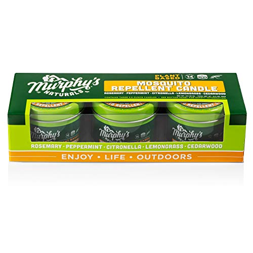 Murphy's Naturals Mini Mosquito Repellent Candle Trio Pack | DEET Free | Made with Plant Based Essential Oils and a Soy/Beeswax Blend | 14 Hour Burn Time Per Candle | Three 3.5oz Candles Per Box