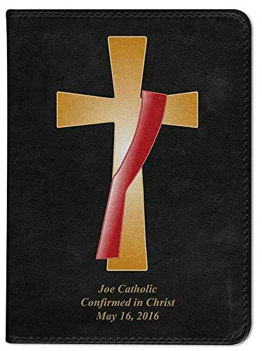 Hail Mary Gifts Personalized Catholic Bible with Deacon's Cross Cover - Black NABRE