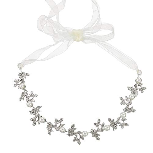 AnazoZ Tocado para El Pelo Boda Rama de Flores con Perlas Circonita Blanca Tocado para El Pelo Boda Plata