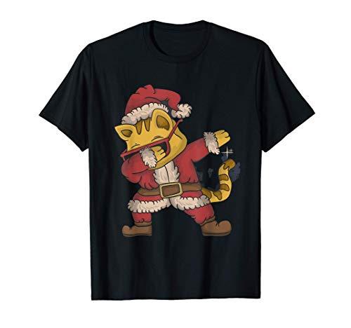 Dabbing Gato con sombrero Disfraz de Navidad Regalo Nios Camiseta