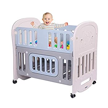 """JOYMOR Baby Bed Crib with 2"""" Mattress and Large Space Storage Easily Converts to Toddler Bed Day Bed Playard or Rocking Crib"""