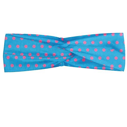 ABAKUHAUS Pink Dots Polka Bandeau, Cercles au pastel ton répétition Simplistic Ornement Hipster Motif, Serre-tête Féminin Élastique et Doux pour Sport