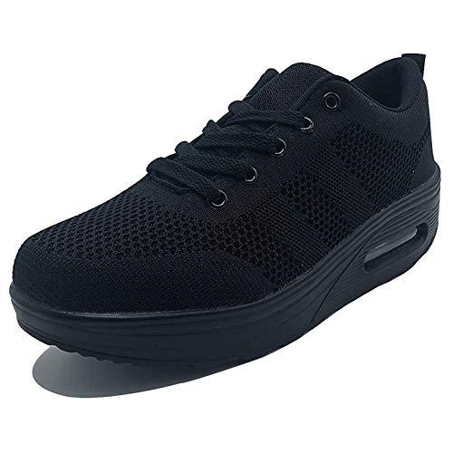 Damen Sneaker mit Keilabsatz Bequeme Plateau Freizeitschuhe Frauen Fitness Sportschuhe Mode Laufschuhe Leicht Turnschuhe ,Schwarz Q,42.5 EU, Etikette Gr: 43 CN