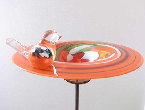 Edle Vogeltränke aus Glas orange D 29 cm handgefertigt Vogelbad Glasobjekt