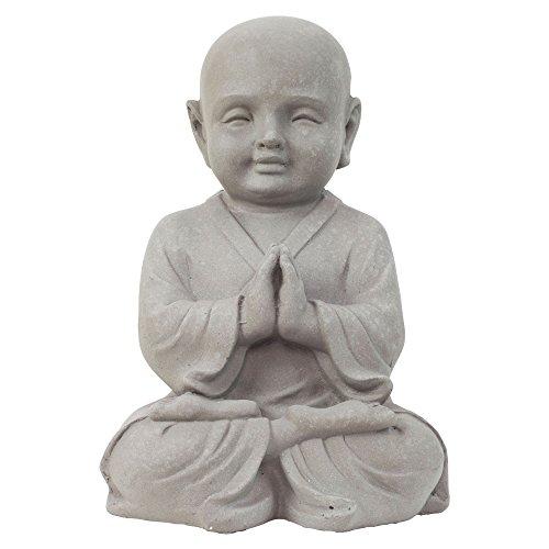 Garten Deko Figur Shaolin Mönch Buddha Betend Stein Effekt in Grau - 42cm Hoch