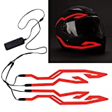 4PCS Motorcycle LED Night Riding Signal Helmet EL Cold Light 4Mode Led Bike Helmet Light Strip decoration Kit Bar Accessories (Red)