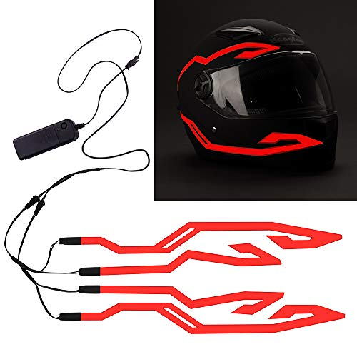 4PCS Motorcycle Helmet Light, Night Riding Signal Helmet EL Light, 3 Mode Led Helmet Light Strip Decoration Accessories Kit for Motorcycle, Bike Helmet (Red, Battery Powered)