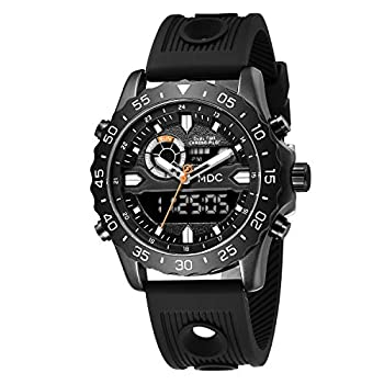 Big Face Military Tactical Watch for Men Black Mens Outdoor Sport Wrist Watch Large Analog Digital Watch - Dual Display Japanese Movement Heavy Duty Stainless Steel Case 3ATM Water Resistant