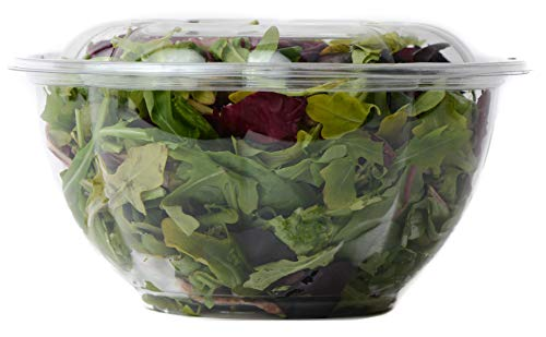 64oz Salad Bowls To-Go with Lids (50 Count) - Clear Plastic Disposable Salad Containers | Airtight, Lunch, Salads, Parfait, Fruits, Leak Proof, Airtight, Fresh, Meal Prep | Rose Bowl Container (64oz)