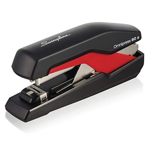 Swingline Stapler, Omnipress 60 Stapler,'Press Anywhere for Easier Use', 60 Sheet Capacity, Black/Red (5000591A)