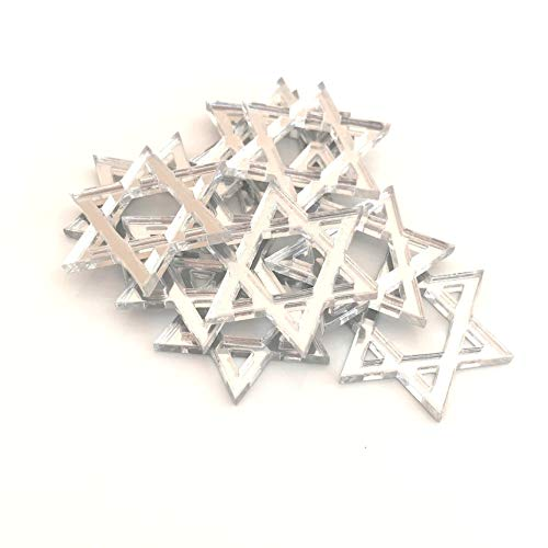 Servewell Star of David Shaped Crafting Spiegels, set van 10, vele kleuren, onbreekbaar acryl Pack of 10 x 8cm Lichtgrijs