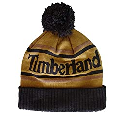 powerful Timberland Men's Two Tone Color Block Pompon Hat Brown