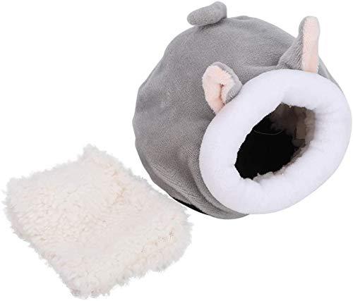 Atyhao Cama de hámster, Linda Forma de Animal Nido de algodón de Felpa Nido de Dormir cálido de Invierno para Erizo Rata Jerbo Enano Hámster Sirio(Gris)
