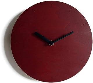 28cm Piccolo orologio da parete in legno tondo silenzioso per cucina colorato come rosso bordeaux Particolari orologi a mu...