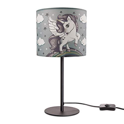 Kinderlampe LED Tischlampe Kinderzimmer, Einhorn Lampe, Mädchen Tischleuchte E14, Lampenfuß:Schwarz, Lampenschirm:Grau (Ø18 cm)